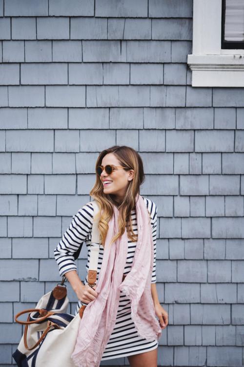 Топ в полску, розовый шарф. breton shirt.