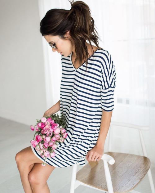 Платье в полоску, V-neck, casual, breton stripes