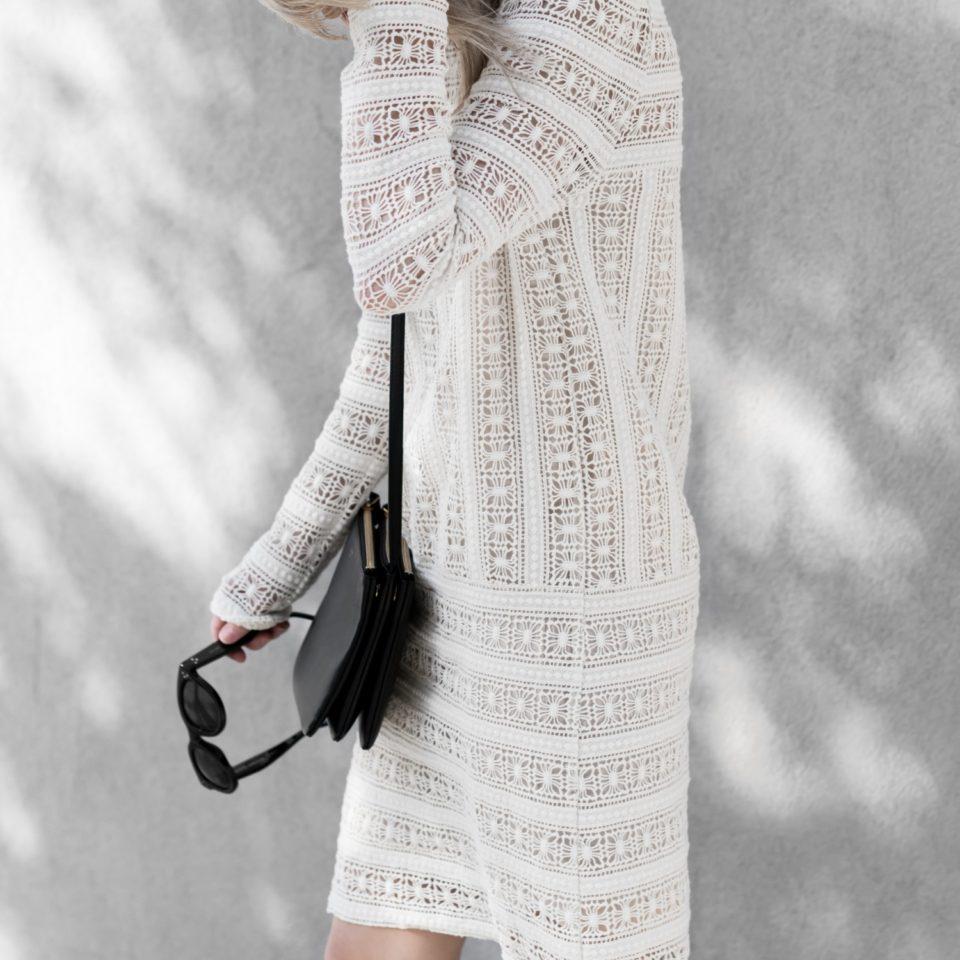 white lace dress, summer street style. кружево, белое платье, летний гардероб.