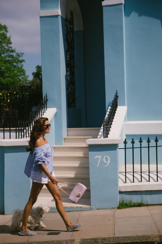 Noting-Hill, Londone, off-the-shoulder top, белые шорты, эспадрильи, Лондон, Нотинг Хилл, летняя мода