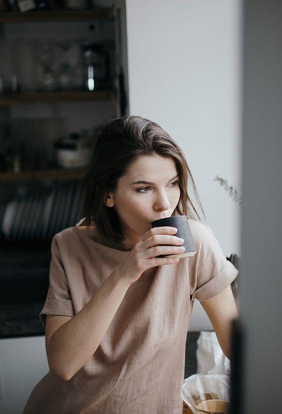 девушка пьет кофе, melancholy, neutrals, coffee