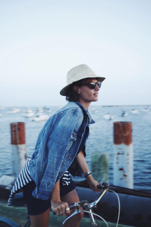 fedora hat, summer, denim jacket