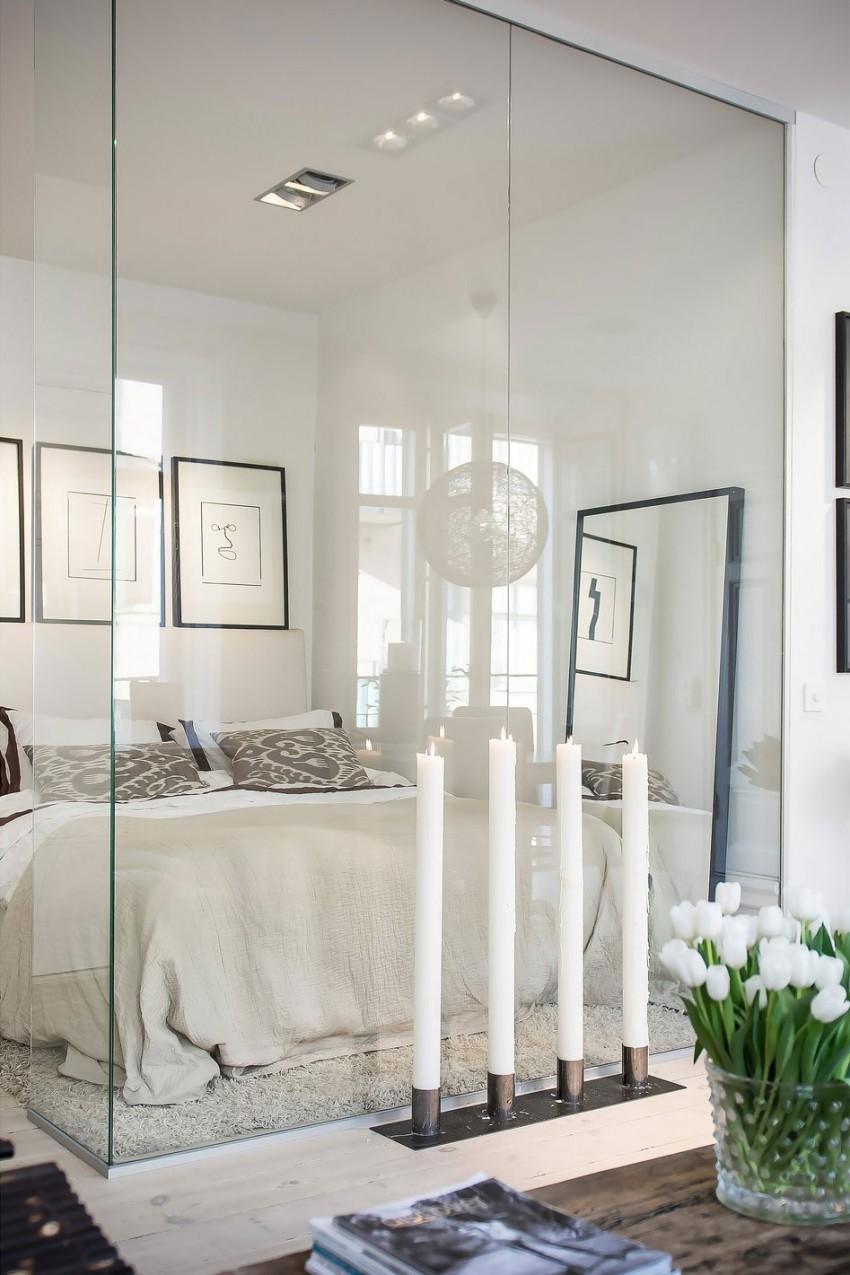 Small-Flat-in-Stockholm-Bedroom-Transparent-Walls-Large-Floor-mirror