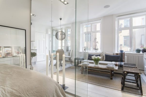Small-Flat-in-Stockholm-Bedroom-Transparent-Walls1