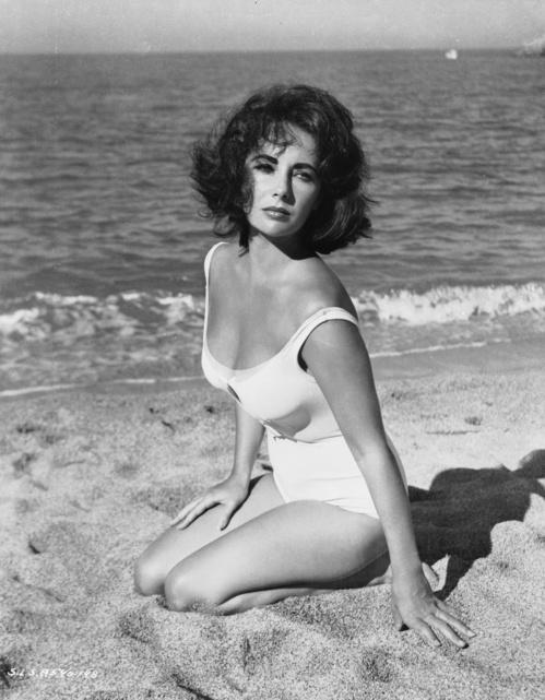 Элизабет Тэйлор, белый купальник, совместный купальник, винтажный купальник
