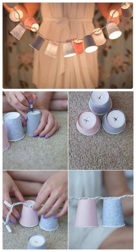 гирлянда из бумажных стаканчиков, декор, DIY, своими руками