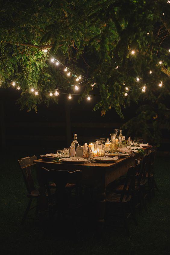 пикник на природе, гирлянда на дереве, дачный ужин