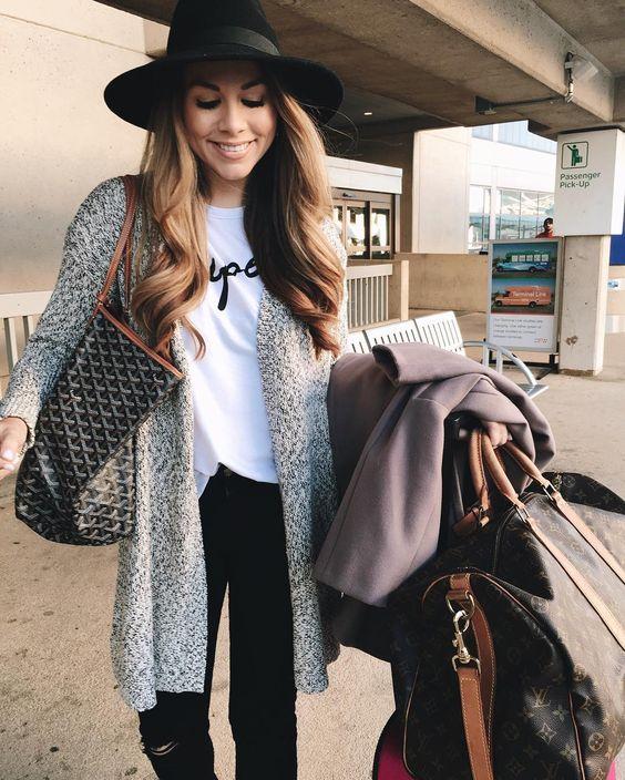 стиль в дорогу, шлпа, футболка, кардиган, travel style, cardigan, hat