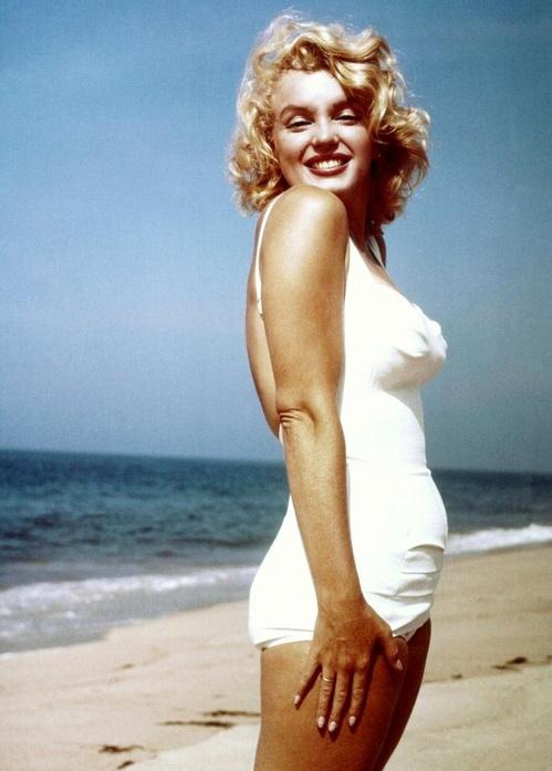 мерилин монро, белый купальник, совместный купальник, винтажный купальник
