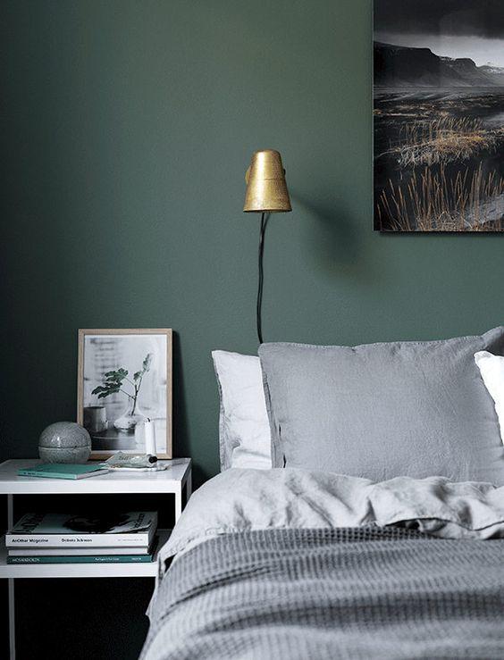 зеленые стены, скандинавский интерьер, декоре интерьера, дизайн, green walls, спальня