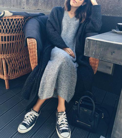 платье-свитер, конверс