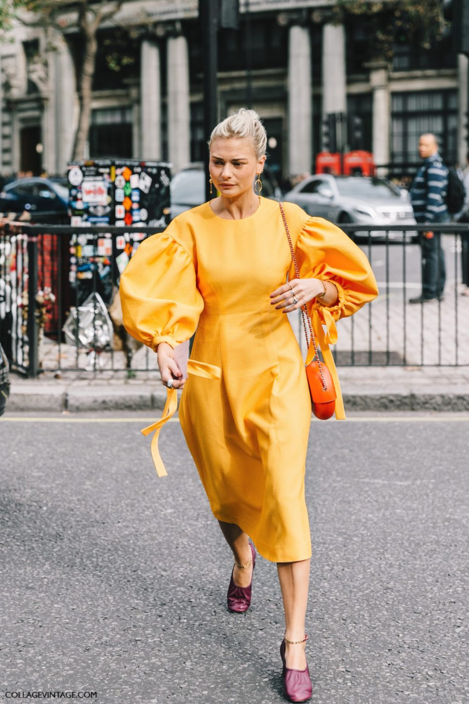 dress yellow statement sleeves