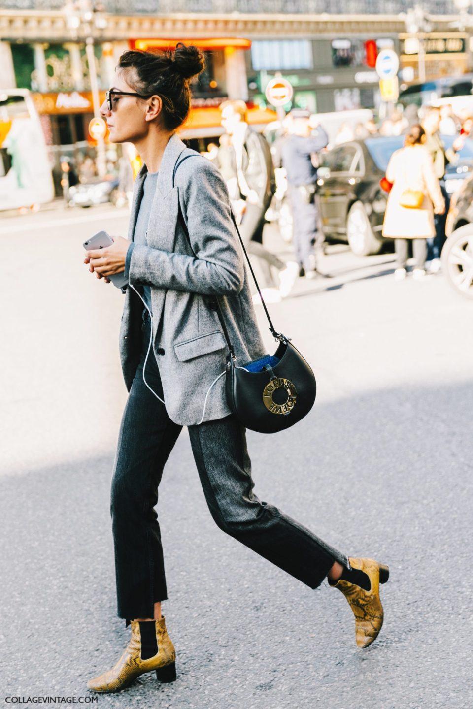 grey jacket, yellow boots