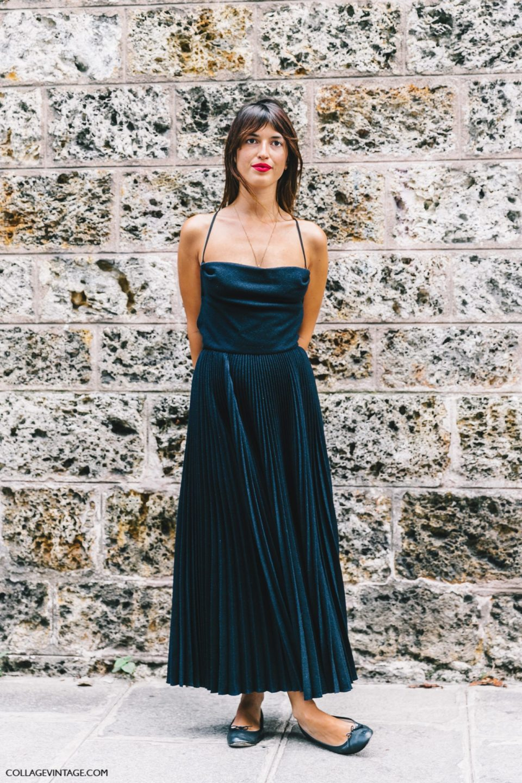 black dress, red lips, parisian chic