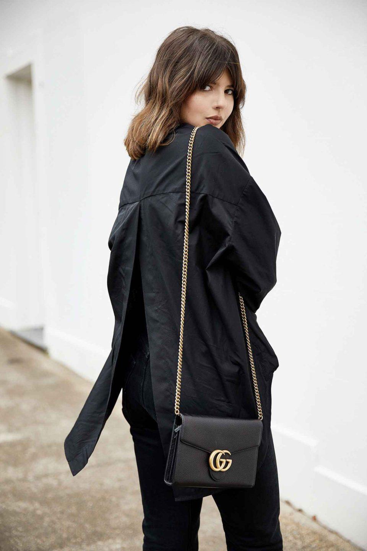 All black outfit. Черный топ, джинсы скинни, сумка гуччи