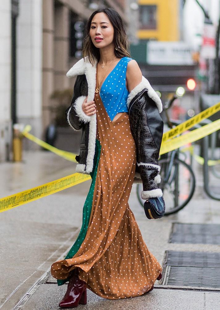 polka dot dress, new york street style, spring-summer 2017
