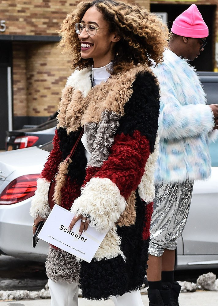 teddy bear coat, new york street style, spring-summer 2017
